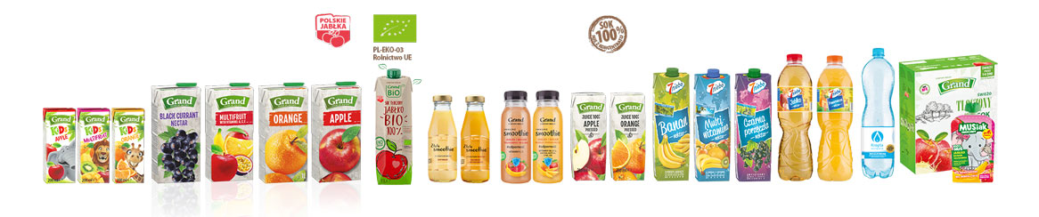 Pressed juices, nectars, soft drinks, mineral water, mousses in pouches, bag-in-box pressed juices.
